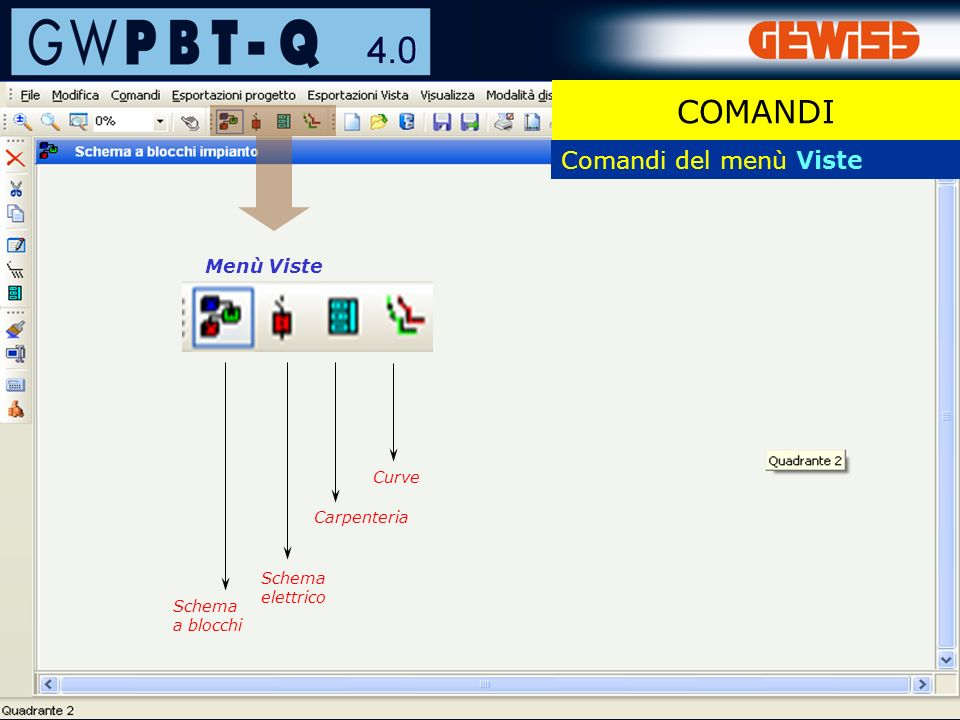 12 Comandi del menù Viste Menù Viste Schema a blocchi Curve Schema elettrico COMANDI Carpenteria