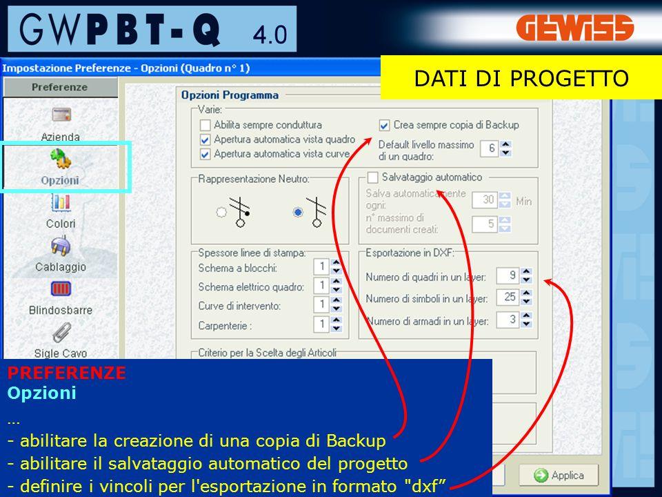 19 PREFERENZE Opzioni … - abilitare la creazione di una copia di Backup - abilitare il salvataggio automatico del progetto - definire i vincoli per l esportazione in formato dxf DATI DI PROGETTO
