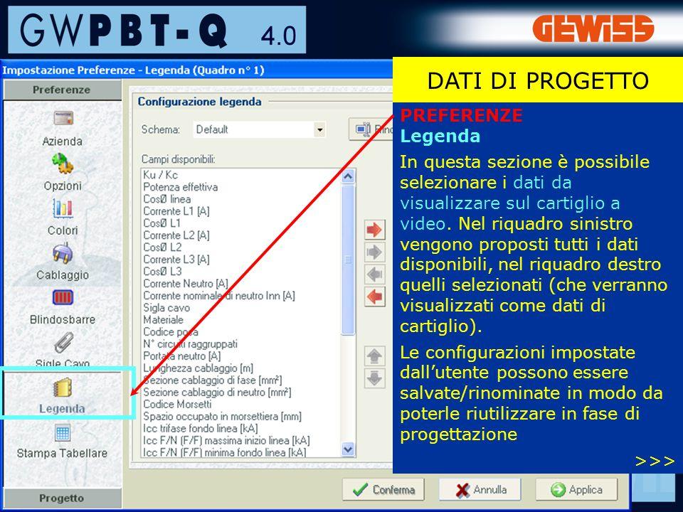 25 PREFERENZE Legenda In questa sezione è possibile selezionare i dati da visualizzare sul cartiglio a video.