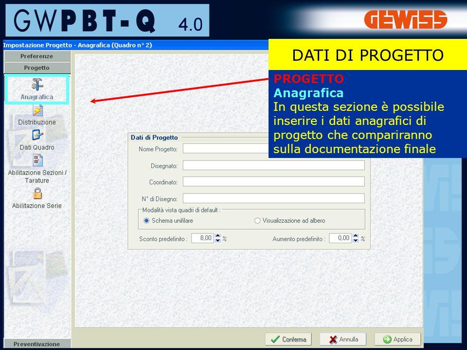 28 PROGETTO Anagrafica In questa sezione è possibile inserire i dati anagrafici di progetto che compariranno sulla documentazione finale DATI DI PROGETTO