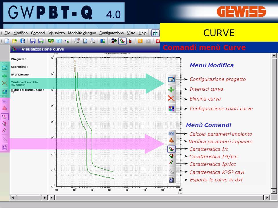 57 Comandi menù Curve Configurazione progetto Inserisci curva Configurazione colori curve Elimina curva Menù Modifica Caratteristica I/t Menù Comandi Calcola parametri impianto Esporta le curve in dxf Verifica parametri impianto Caratteristica I²t/Icc Caratteristica Ip/Icc Caratteristica K²S² cavi CURVE