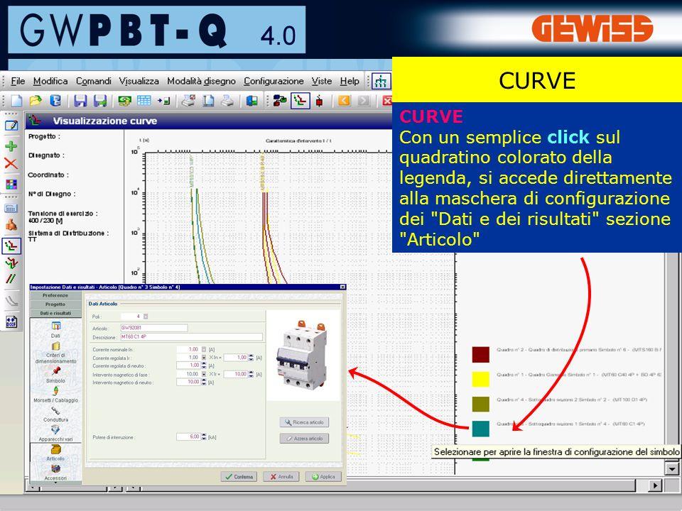 62 CURVE Con un semplice click sul quadratino colorato della legenda, si accede direttamente alla maschera di configurazione dei Dati e dei risultati sezione Articolo CURVE