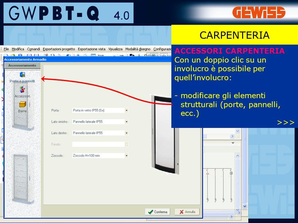 94 CARPENTERIA ACCESSORI CARPENTERIA Con un doppio clic su un involucro è possibile per quellinvolucro: -modificare gli elementi strutturali (porte, pannelli, ecc.) >>>