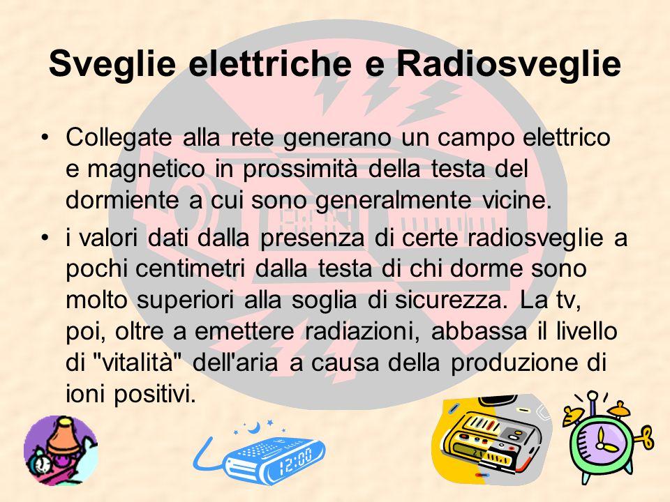 Sveglie elettriche e Radiosveglie Collegate alla rete generano un campo elettrico e magnetico in prossimità della testa del dormiente a cui sono gener