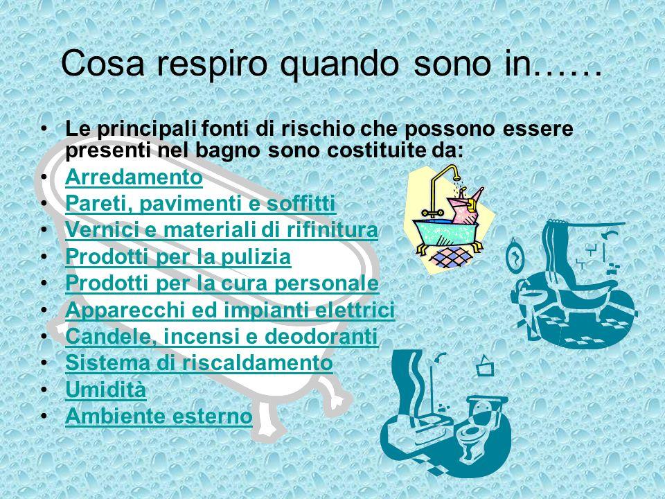 Cosa respiro quando sono in…… Le principali fonti di rischio che possono essere presenti nel bagno sono costituite da: Arredamento Pareti, pavimenti e