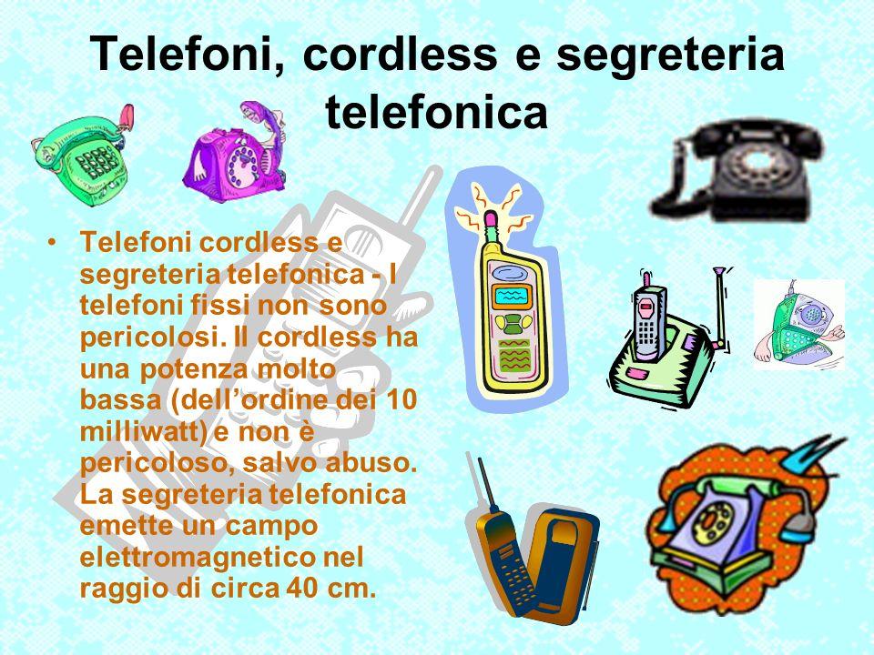 Telefoni, cordless e segreteria telefonica Telefoni cordless e segreteria telefonica - I telefoni fissi non sono pericolosi. Il cordless ha una potenz