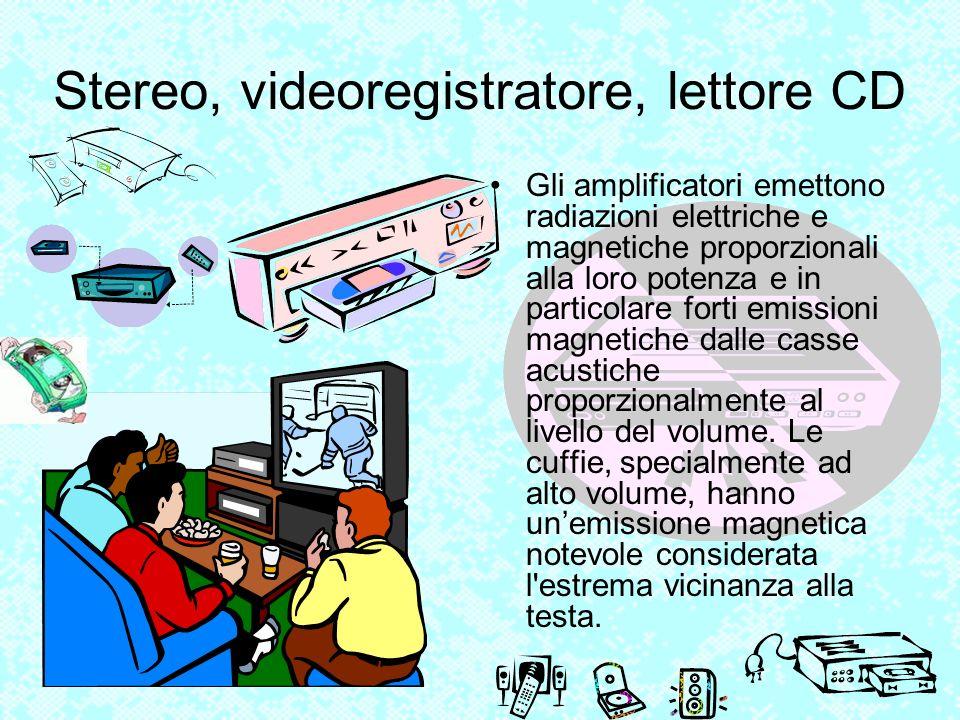 Stereo, videoregistratore, lettore CD Gli amplificatori emettono radiazioni elettriche e magnetiche proporzionali alla loro potenza e in particolare f