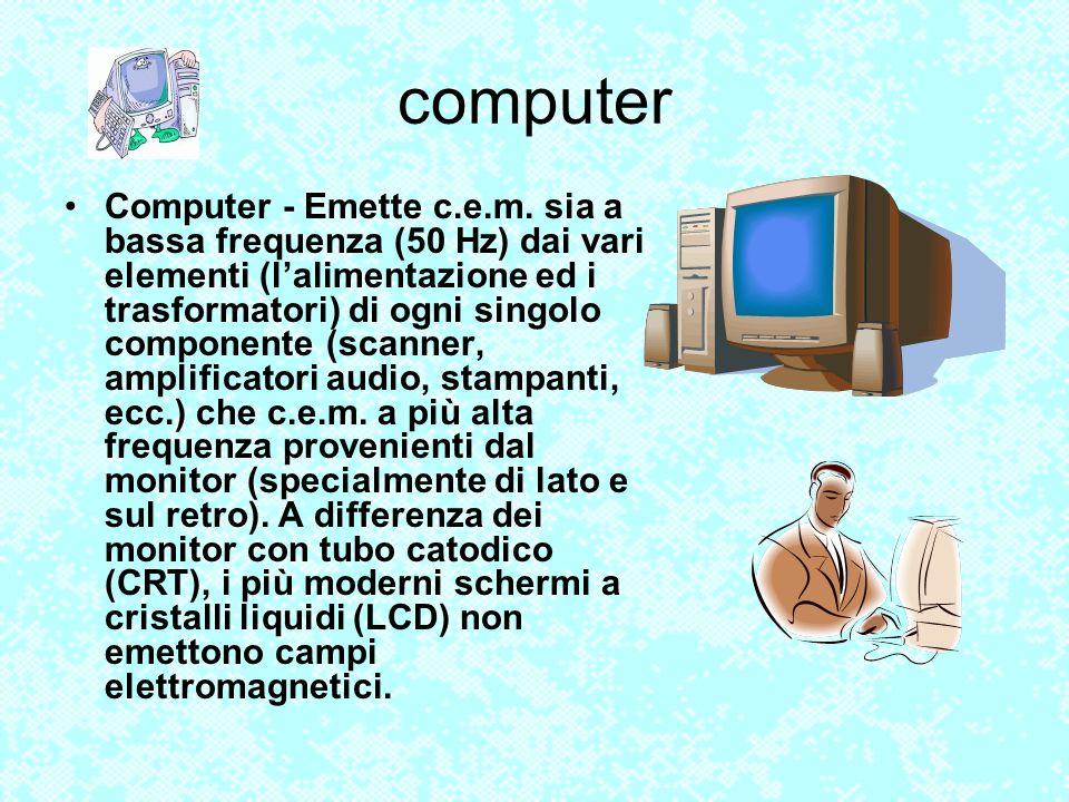 computer Computer - Emette c.e.m. sia a bassa frequenza (50 Hz) dai vari elementi (lalimentazione ed i trasformatori) di ogni singolo componente (scan