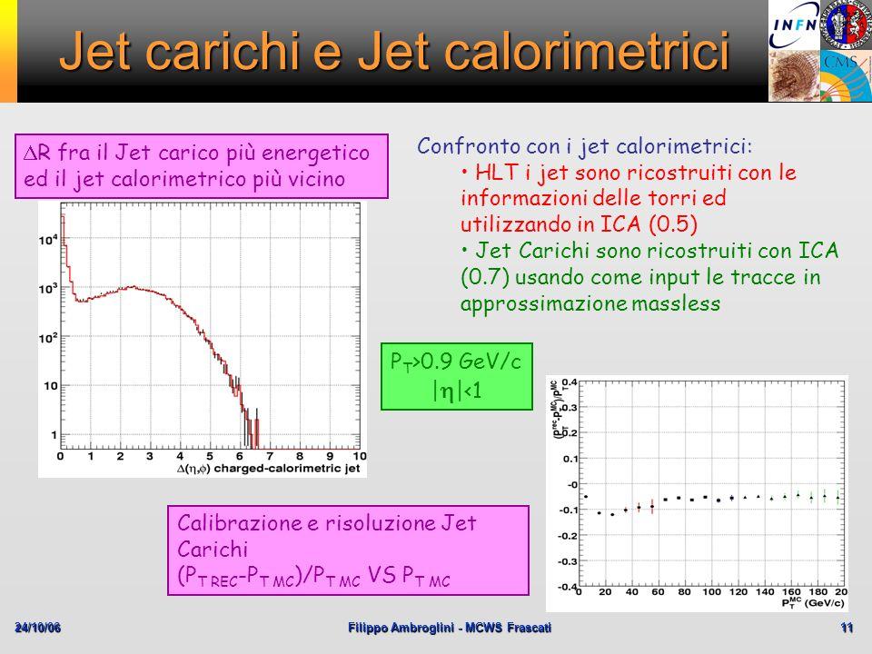 24/10/06Filippo Ambroglini - MCWS Frascati 11 Jet carichi e Jet calorimetrici Confronto con i jet calorimetrici: HLT i jet sono ricostruiti con le inf