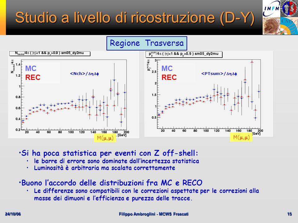 24/10/06Filippo Ambroglini - MCWS Frascati 15 Studio a livello di ricostruzione (D-Y) MC REC / M(,) MC REC Regione Trasversa Si ha poca statistica per