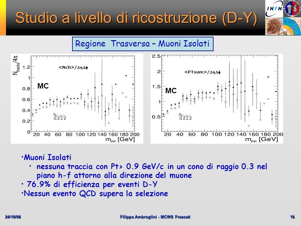 24/10/06Filippo Ambroglini - MCWS Frascati 16 Studio a livello di ricostruzione (D-Y) Regione Trasversa – Muoni Isolati Muoni Isolati nessuna traccia
