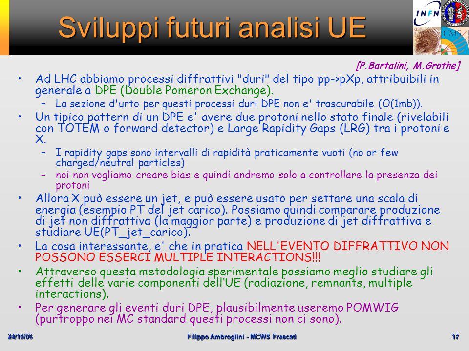 24/10/06Filippo Ambroglini - MCWS Frascati 17 Sviluppi futuri analisi UE Ad LHC abbiamo processi diffrattivi