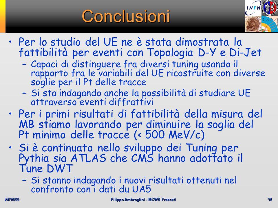 24/10/06Filippo Ambroglini - MCWS Frascati 18 Conclusioni Per lo studio del UE ne è stata dimostrata la fattibilità per eventi con Topologia D-Y e Di-