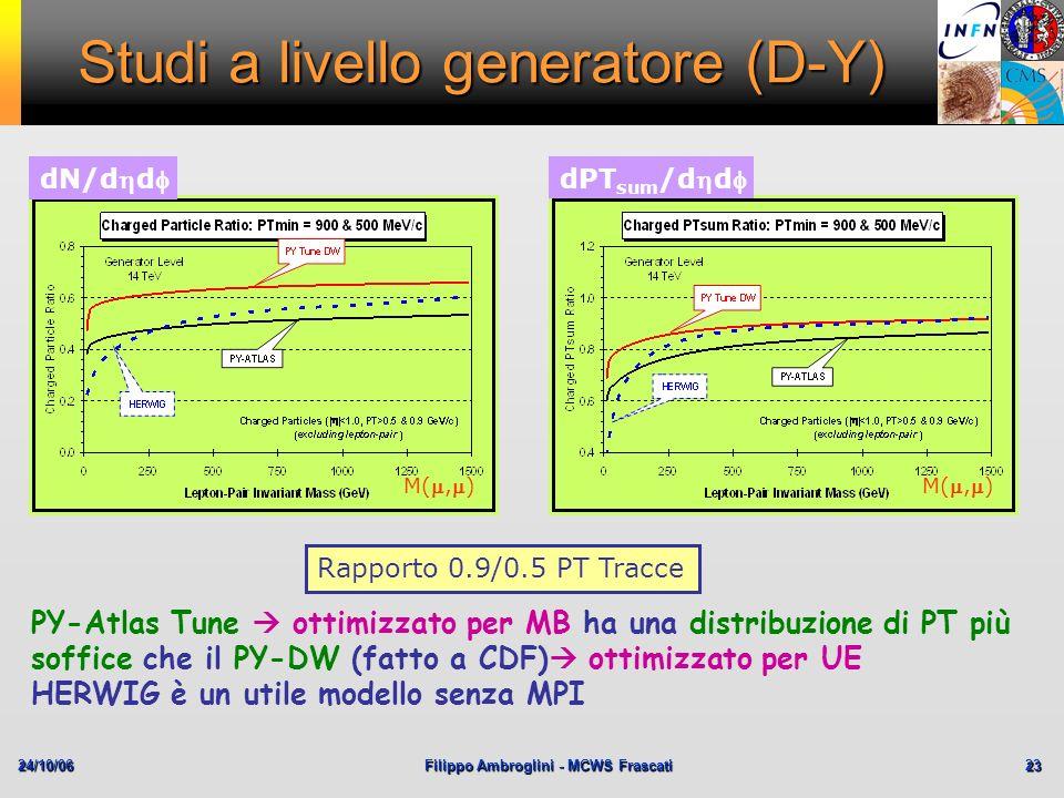 24/10/06Filippo Ambroglini - MCWS Frascati 23 Studi a livello generatore (D-Y) dN/dd dPT sum /dd M(,) Rapporto 0.9/0.5 PT Tracce PY-Atlas Tune ottimiz