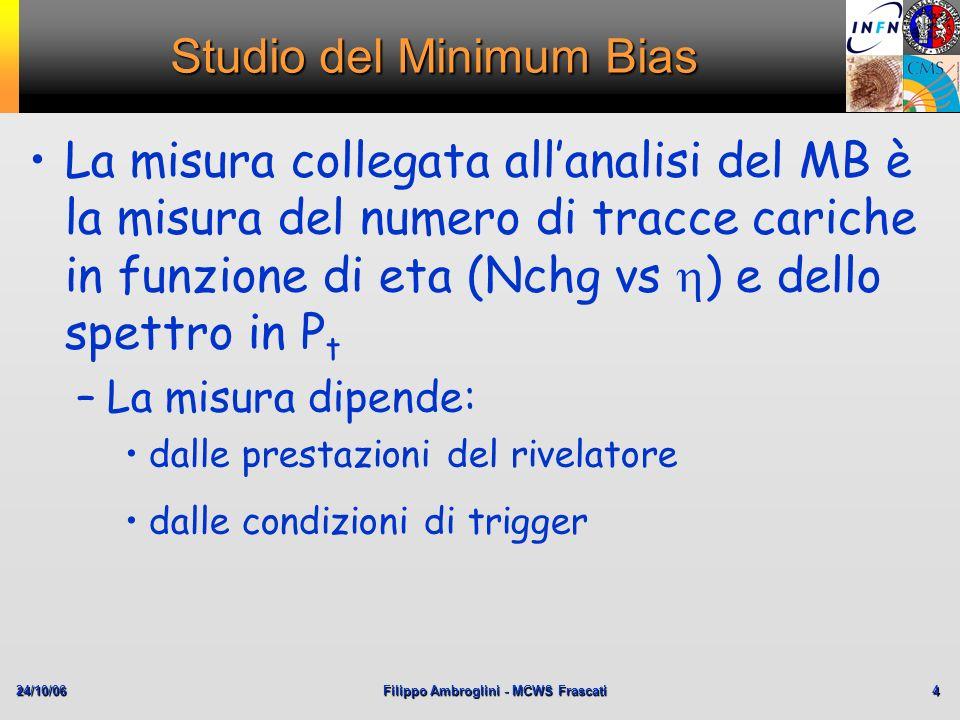 24/10/06Filippo Ambroglini - MCWS Frascati 4 Studio del Minimum Bias La misura collegata allanalisi del MB è la misura del numero di tracce cariche in