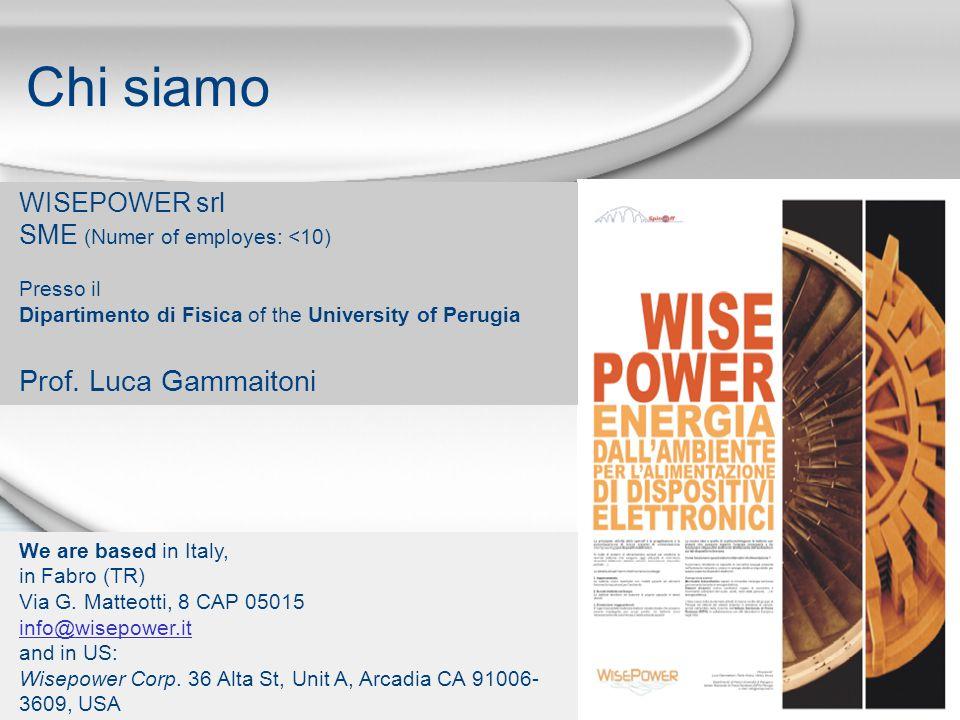 Chi siamo WISEPOWER srl SME (Numer of employes: <10) Presso il Dipartimento di Fisica of the University of Perugia Prof. Luca Gammaitoni We are based