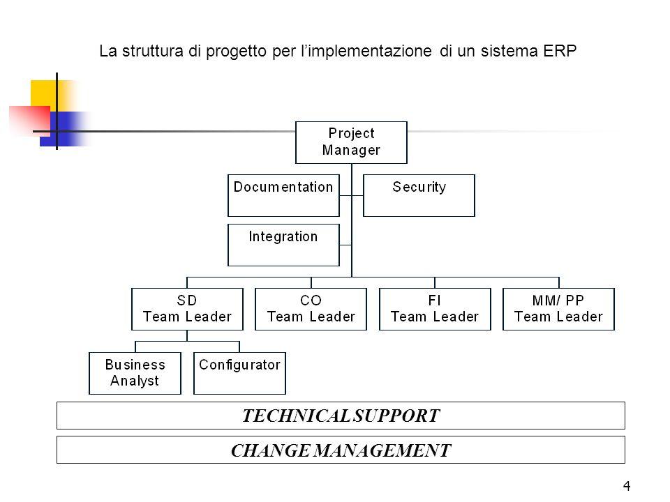 4 TECHNICAL SUPPORT CHANGE MANAGEMENT La struttura di progetto per limplementazione di un sistema ERP