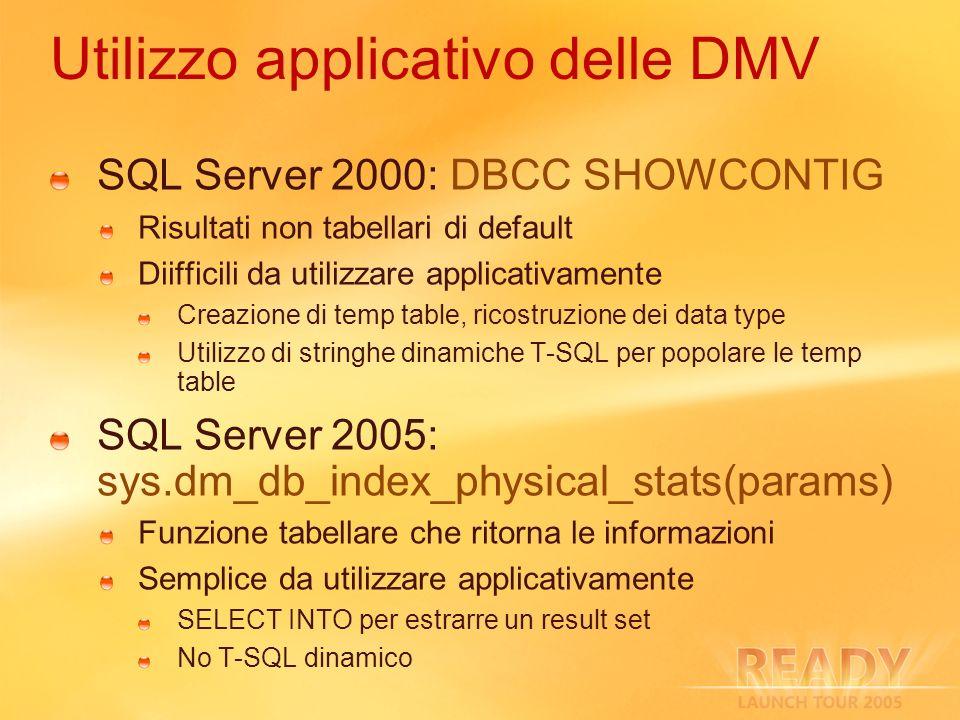 Utilizzo applicativo delle DMV SQL Server 2000: DBCC SHOWCONTIG Risultati non tabellari di default Diifficili da utilizzare applicativamente Creazione