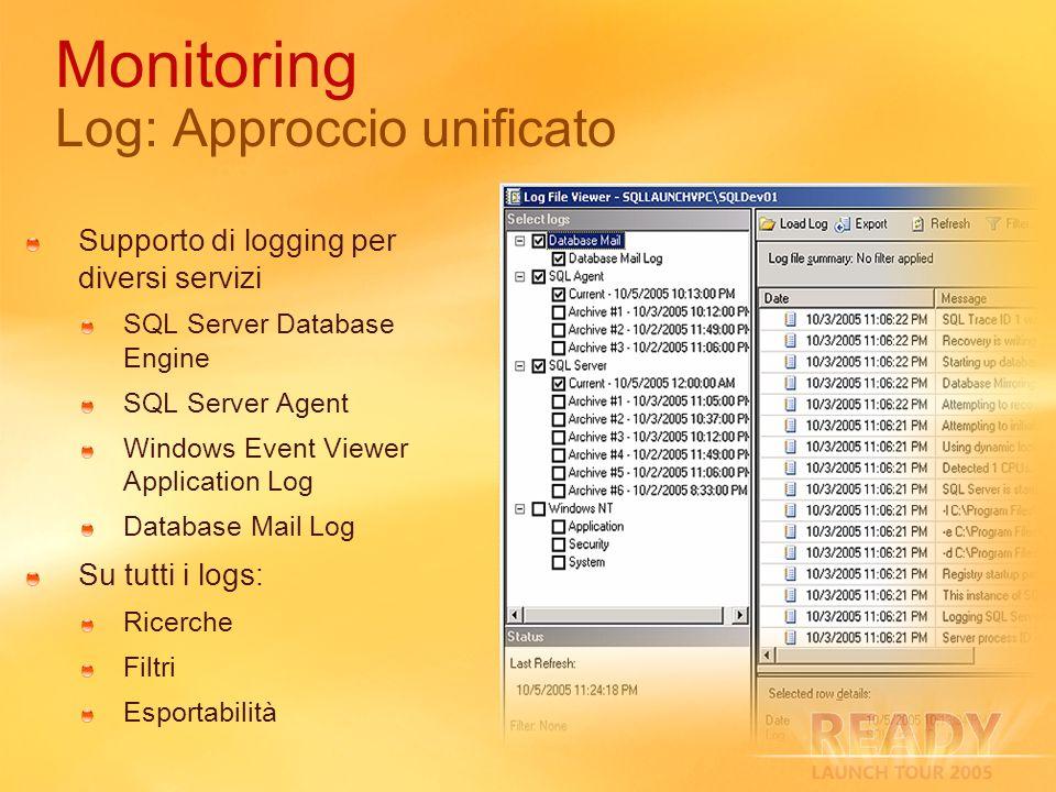Monitoring Log: Approccio unificato Supporto di logging per diversi servizi SQL Server Database Engine SQL Server Agent Windows Event Viewer Applicati