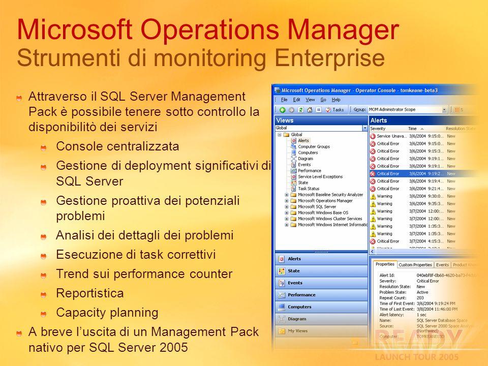 Attraverso il SQL Server Management Pack è possibile tenere sotto controllo la disponibilitò dei servizi Console centralizzata Gestione di deployment