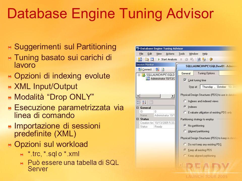 Suggerimenti sul Partitioning Tuning basato sui carichi di lavoro Opzioni di indexing evolute XML Input/Output Modalità Drop ONLY Esecuzione parametri