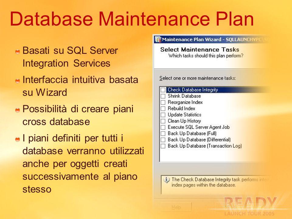 Basati su SQL Server Integration Services Interfaccia intuitiva basata su Wizard Possibilità di creare piani cross database I piani definiti per tutti