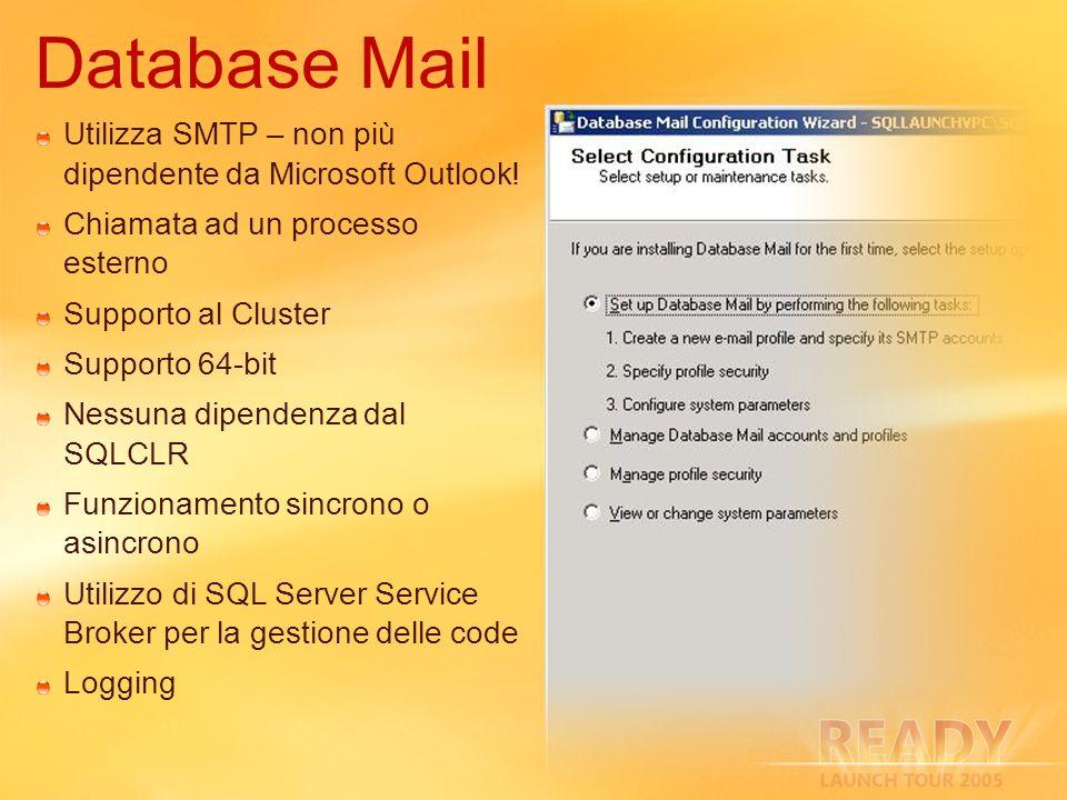 Utilizza SMTP – non più dipendente da Microsoft Outlook! Chiamata ad un processo esterno Supporto al Cluster Supporto 64-bit Nessuna dipendenza dal SQ