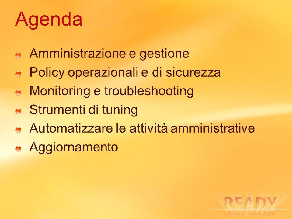 Agenda Amministrazione e gestione Policy operazionali e di sicurezza Monitoring e troubleshooting Strumenti di tuning Automatizzare le attività ammini