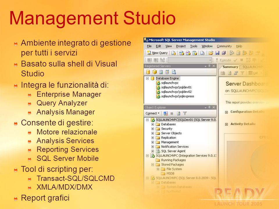 Ambiente integrato di gestione per tutti i servizi Basato sulla shell di Visual Studio Integra le funzionalità di: Enterprise Manager Query Analyzer A