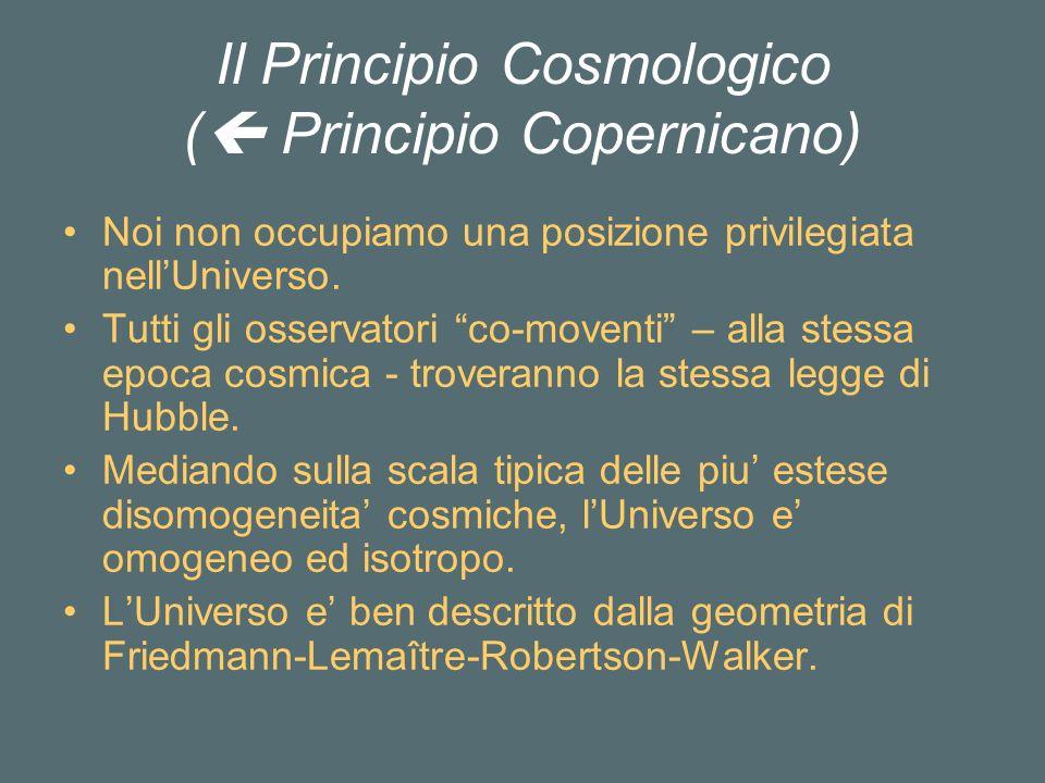 Il Principio Cosmologico ( Principio Copernicano) Noi non occupiamo una posizione privilegiata nellUniverso.