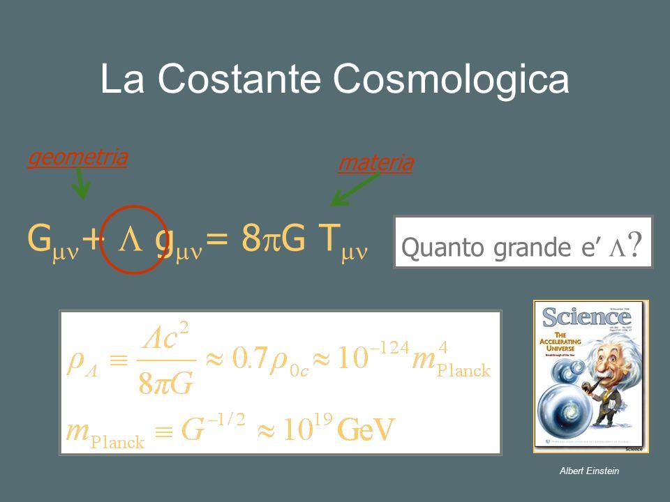 La Costante Cosmologica G + g = 8 G T geometria Quanto grande e materia Albert Einstein