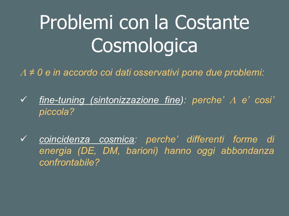 Problemi con la Costante Cosmologica 0 e in accordo coi dati osservativi pone due problemi: fine-tuning (sintonizzazione fine): perche e cosi piccola.