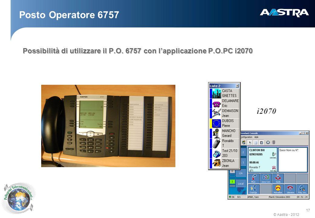 © Aastra - 2012 17 Posto Operatore 6757 Possibilità di utilizzare il P.O.