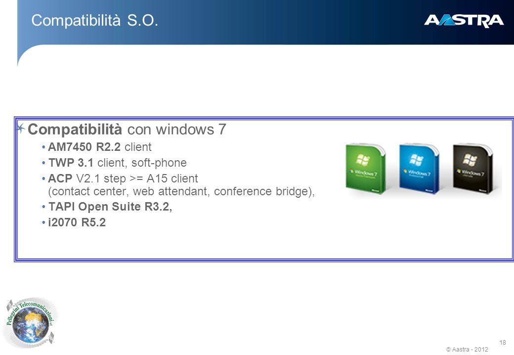 © Aastra - 2012 18 Compatibilità S.O.