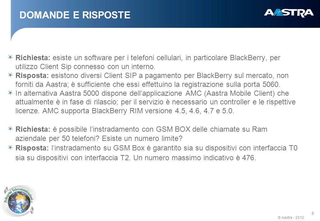 © Aastra - 2012 9 DOMANDE E RISPOSTE Richiesta: esiste un software per i telefoni cellulari, in particolare BlackBerry, per utilizzo Client Sip connesso con un interno.