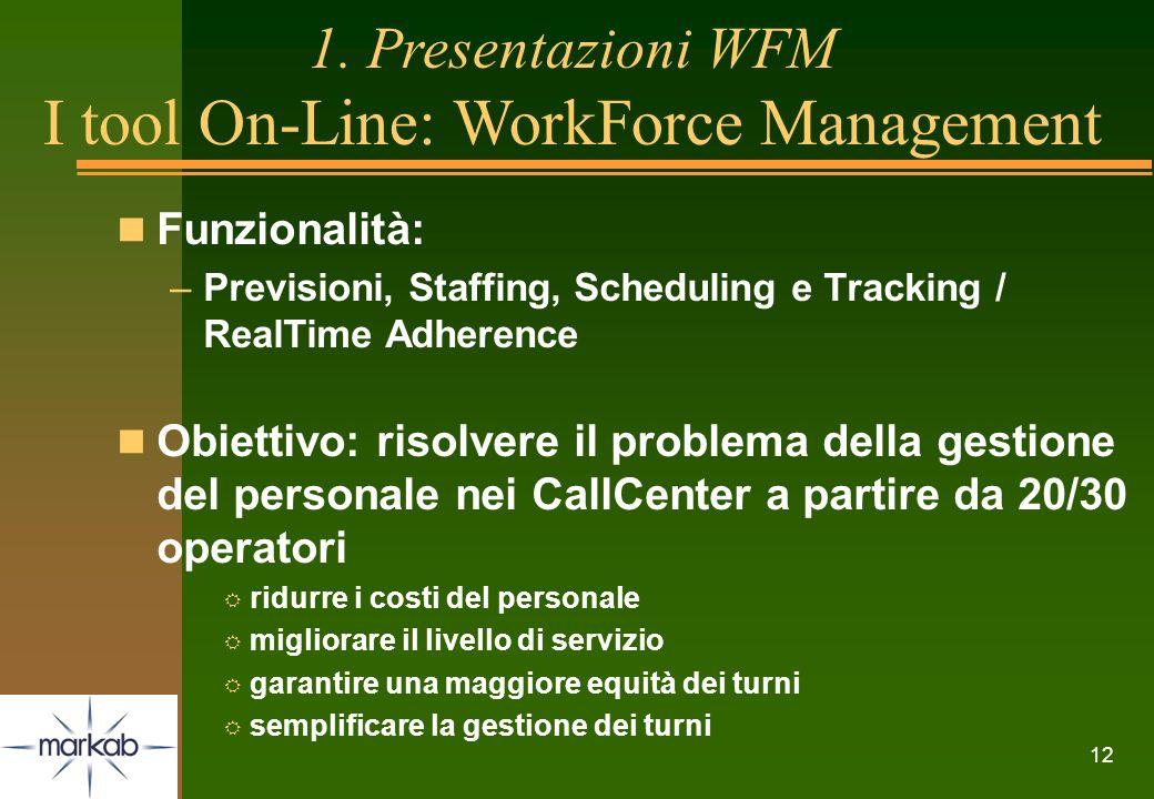12 n Funzionalità: –Previsioni, Staffing, Scheduling e Tracking / RealTime Adherence n Obiettivo: risolvere il problema della gestione del personale n