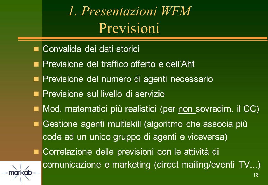 13 1. Presentazioni WFM Previsioni n Convalida dei dati storici n Previsione del traffico offerto e dellAht n Previsione del numero di agenti necessar