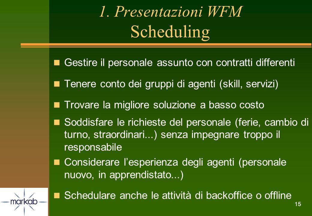 15 1. Presentazioni WFM Scheduling n Gestire il personale assunto con contratti differenti n Tenere conto dei gruppi di agenti (skill, servizi) n Trov