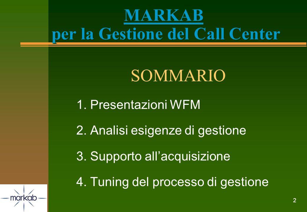 2 MARKAB per la Gestione del Call Center SOMMARIO 1. Presentazioni WFM 2. Analisi esigenze di gestione 3. Supporto allacquisizione 4. Tuning del proce