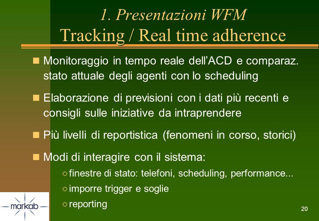 20 1. Presentazioni WFM Tracking / Real time adherence n Monitoraggio in tempo reale dellACD e comparaz. stato attuale degli agenti con lo scheduling