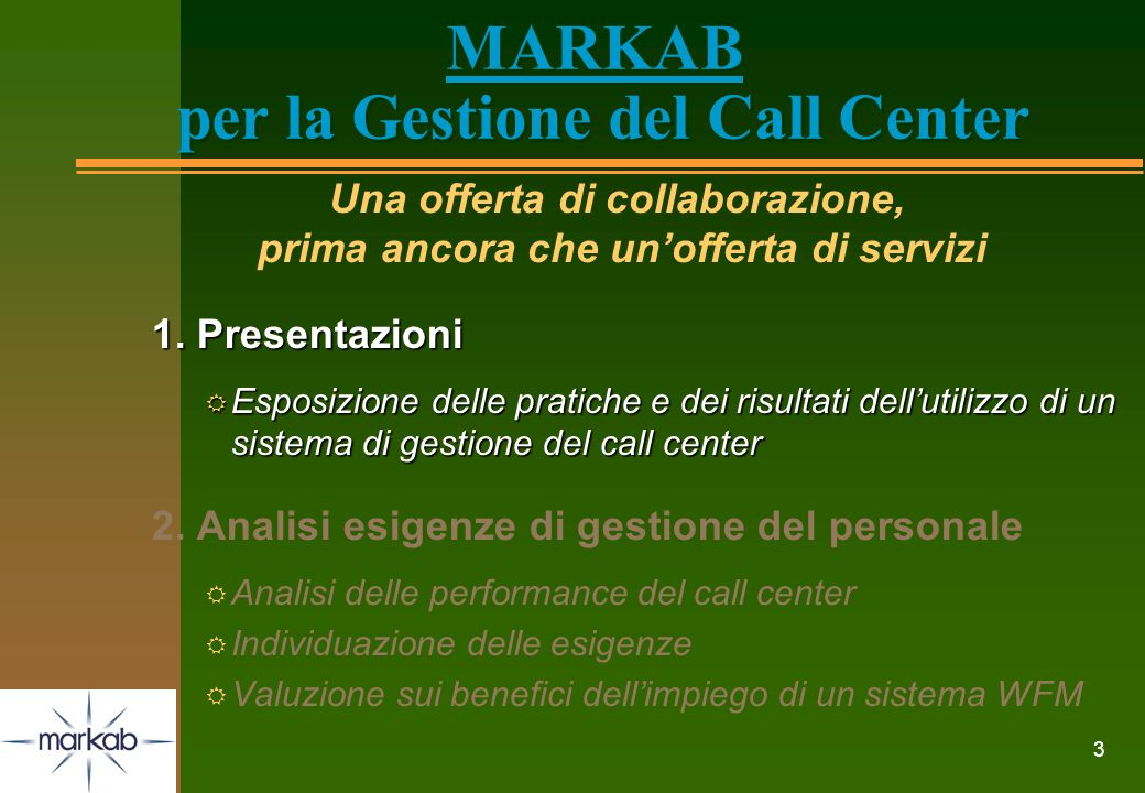3 MARKAB per la Gestione del Call Center Una offerta di collaborazione, prima ancora che unofferta di servizi 1. Presentazioni R Esposizione delle pra