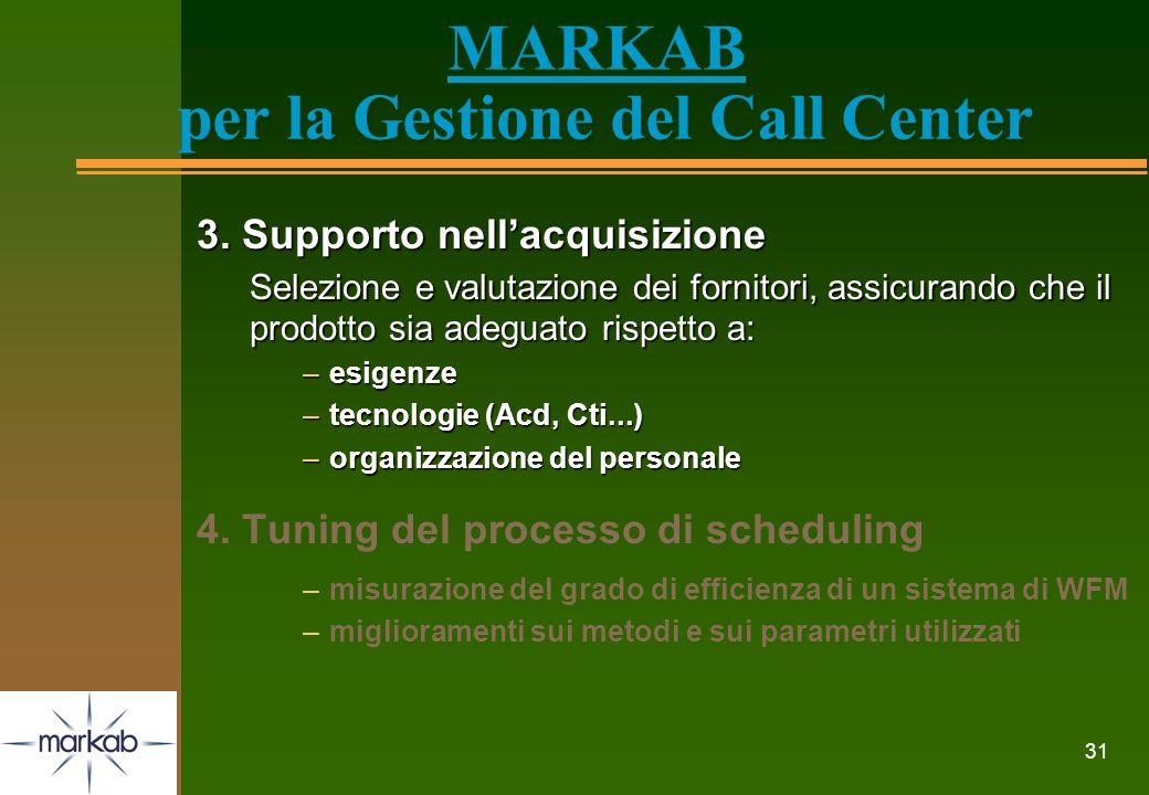 31 MARKAB per la Gestione del Call Center 3. Supporto nellacquisizione Selezione e valutazione dei fornitori, assicurando che il prodotto sia adeguato