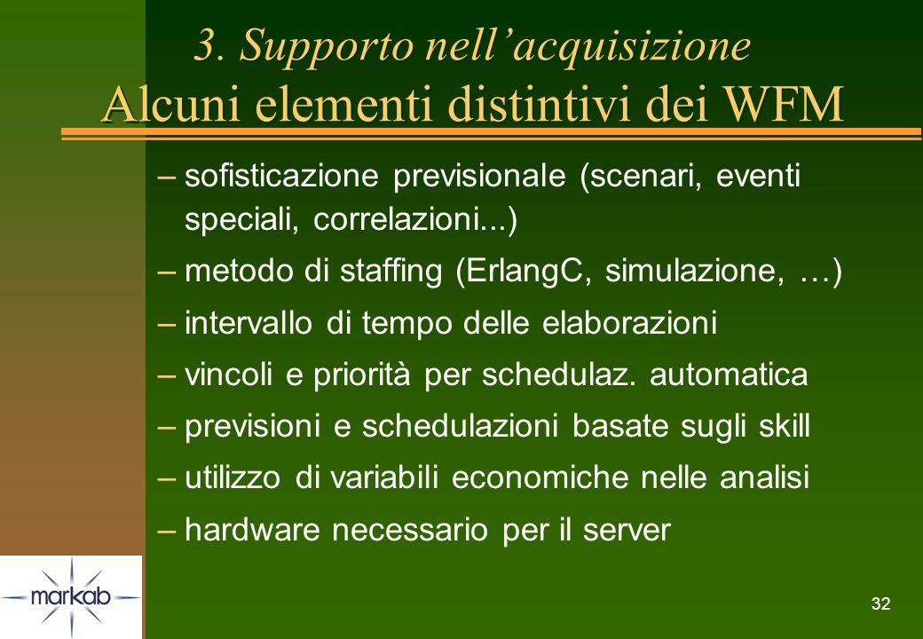 32 –sofisticazione previsionale (scenari, eventi speciali, correlazioni...) –metodo di staffing (ErlangC, simulazione, …) –intervallo di tempo delle e
