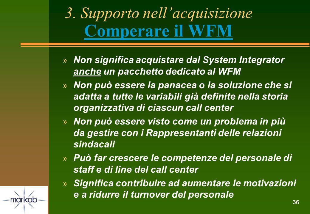 36 3. Supporto nellacquisizione Comperare il WFM » Non significa acquistare dal System Integrator anche un pacchetto dedicato al WFM » Non può essere
