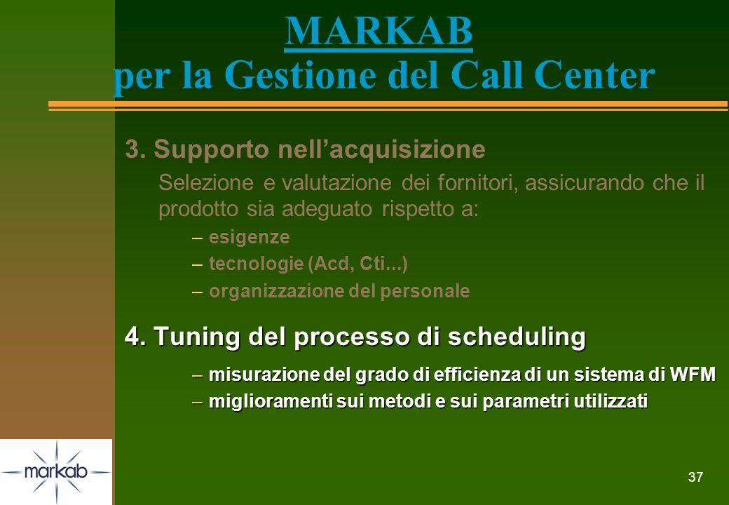 37 MARKAB per la Gestione del Call Center 3. Supporto nellacquisizione Selezione e valutazione dei fornitori, assicurando che il prodotto sia adeguato
