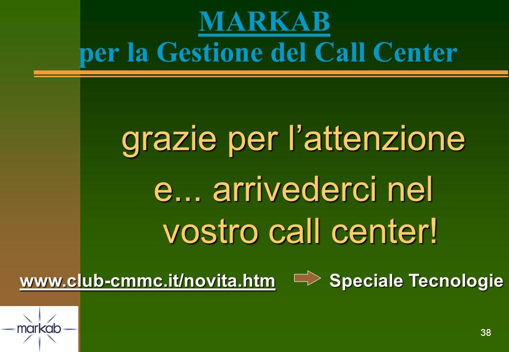 38 MARKAB per la Gestione del Call Center grazie per lattenzione e... arrivederci nel vostro call center! www.club-cmmc.it/novita.htm Speciale Tecnolo
