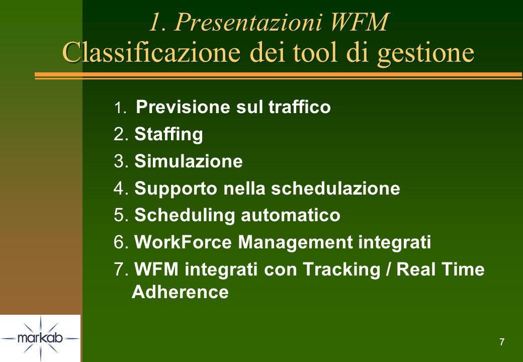 7 1. Presentazioni WFM Classificazione dei tool di gestione 1. Previsione sul traffico 2. Staffing 3. Simulazione 4. Supporto nella schedulazione 5. S