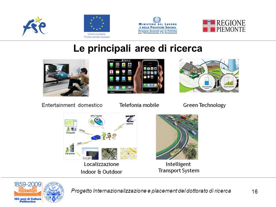 Progetto Internazionalizzazione e placement del dottorato di ricerca 16 Le principali aree di ricerca 16