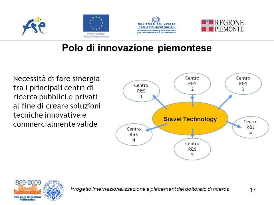 Progetto Internazionalizzazione e placement del dottorato di ricerca 17 Polo di innovazione piemontese Necessità di fare sinergia tra i principali centri di ricerca pubblici e privati al fine di creare soluzioni tecniche innovative e commercialmente valide 17