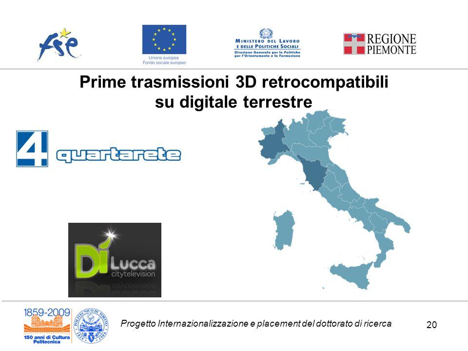 Progetto Internazionalizzazione e placement del dottorato di ricerca 20 Prime trasmissioni 3D retrocompatibili su digitale terrestre 20